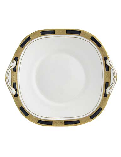 Aynsley china empress black bed and breakfast cake plate square
