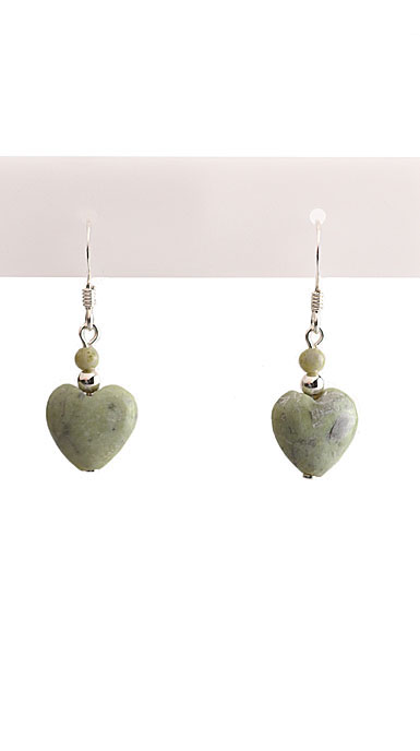Cashs Connemara Marble Sterling Silver Heart Earrings Pair