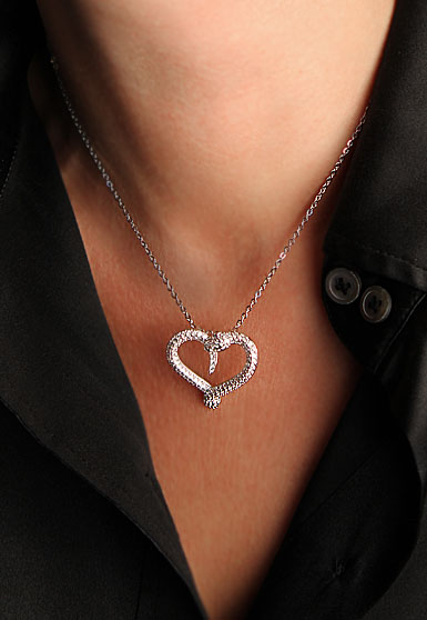 Swarovski Rhodium And Crystal Hypnotic Snake Heart Pendant Necklace