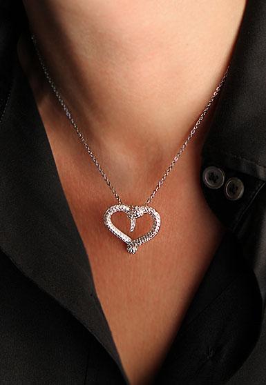 Swarovski Rhodium And Crystal Hypnotic Snake Heart Pendant