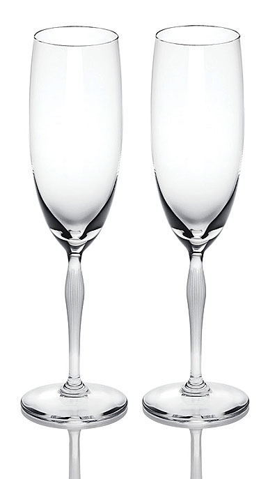 Lalique 100 Points Toasting Flute Glasses By James Suckling, Pair