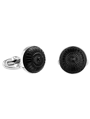 Lalique Gourmande Crystal Stainless Steel Cufflinks Black