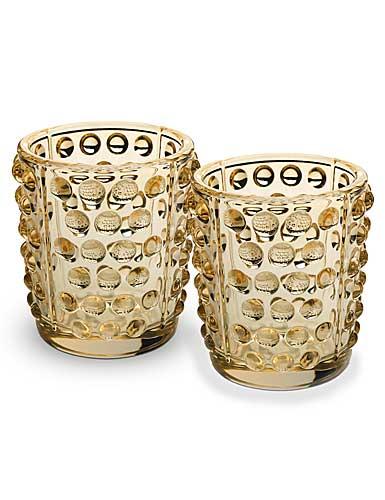Lalique Mossi Gold Luster Votives, Pair
