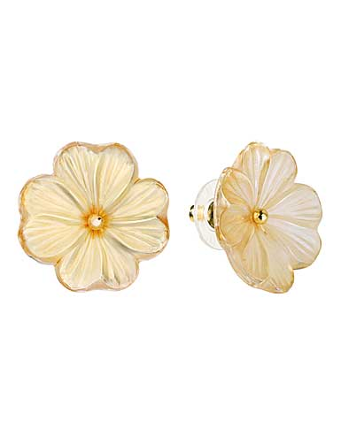 Lalique Pensee Lustre Earrings, Vermeil