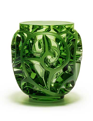 """Lalique Tourbillons 8 1/8"""" Light Green Vase, Limited Edition"""