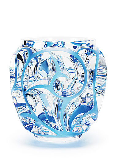 "Lalique Tourbillons 8 1/8"" Blue Vase, Limited Edition"