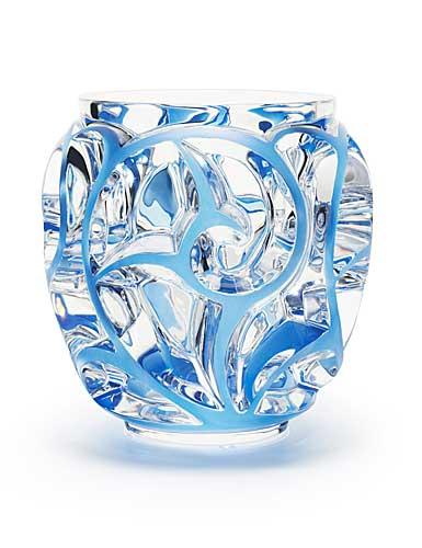 Lalique Tourbillons Blue Vase, Small