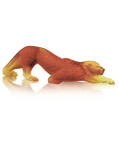 Lalique Zeila Amber Panther Sculpture, Small