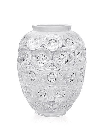 Lalique Anemones Grand Vase, Clear and Black Enamelled, Numbered Edition