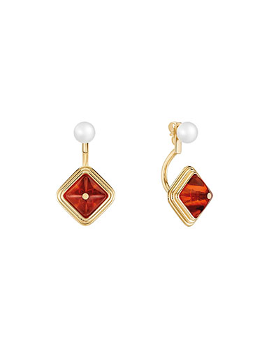 Lalique Charmante Pierced Earrings, Amber and Vermeil
