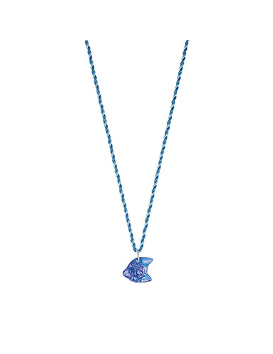 Lalique Poisson Fish Pendant Necklace, Blue Cap-Ferrat