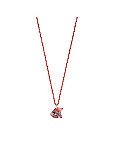 Lalique Poisson Fish Pendant Necklace, Red