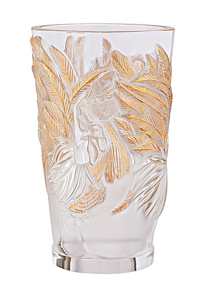 Lalique Zodiac Rooster Vase, Clear And Gold Stamped, Limited Edition Of 888 Pieces