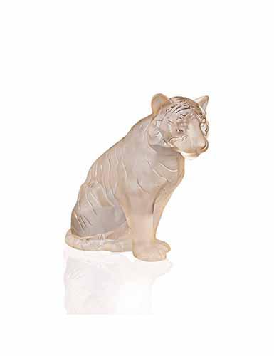 Lalique Sitting Tiger Sculpture, Large, Gold Luster