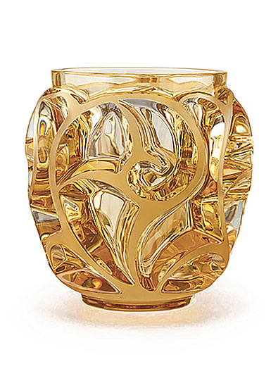Lalique Tourbillons Small Vase, Amber