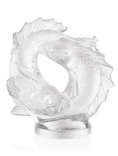Lalique Double Fish Sculpture, Clear