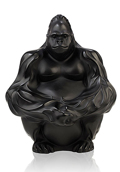 Lalique Gorilla Sculpture, Black