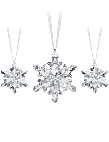 Swarovski Snowflake Ornaments, Set of 3, 2012