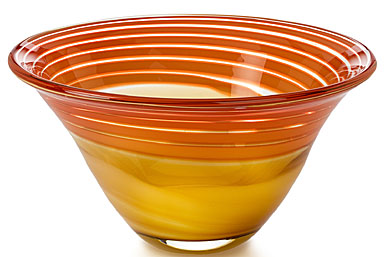Waterford Evolution Red And Amber Swirl Bowl