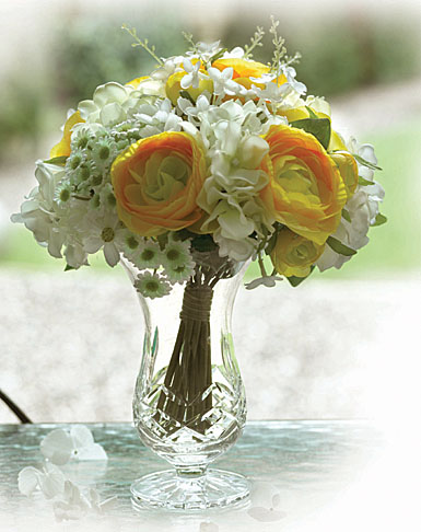 Waterford Vase With Silk Flowers