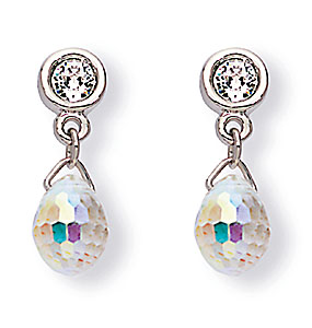 Swarovski Rhodium and Crystal Aurora Borealis Drop Pierced Earrings