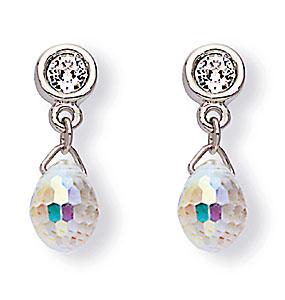 Swarovski Rhodium and Crystal Aurora Borealis Drop Pierced Earrings