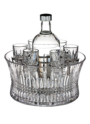 Waterford Lismore Diamond Vodka Set in Chill Bowl with Silver Insert