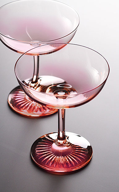 Monique Lhuillier Waterford Blush Champagne Saucer, Pair