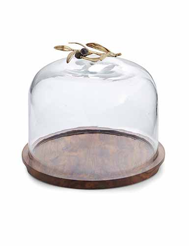 Michael Aram Olive Branch Glass Dome with Wood Base