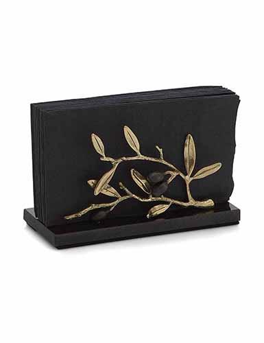 Michael Aram Olive Branch Gold Vertical Napkin Holder