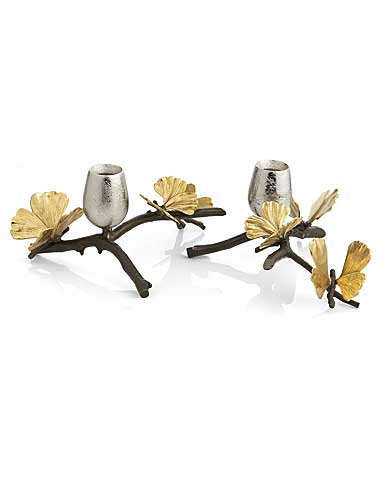 Michael Aram Butterfly Ginkgo Low Candleholder, Pair