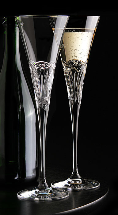 Cashs Celtic Ring Wedding Flutes, Pair