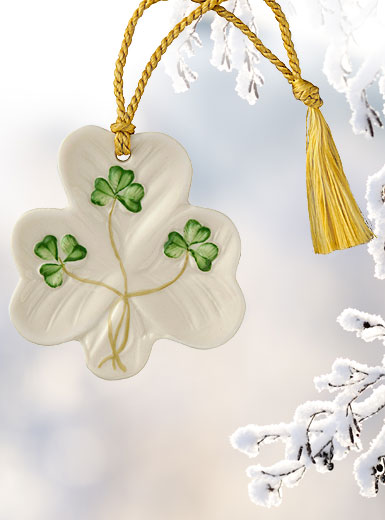 Belleek China Shamrock Shaped Ornament