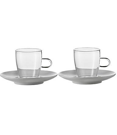 Jenaer Glas Tea Cup w/ Porcelain Saucer, Pair