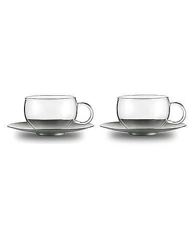 Jenaer Glas Good Mood Cup w/ Saucer, Pair
