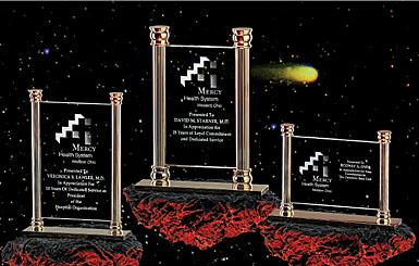 "Crystal Blanc, Personalize! 7.75"" Vertical Brass Column Award"