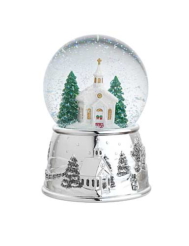 Reed and Barton Village Church Snowglobe, Plays: Carol of Bells, H. 6in.