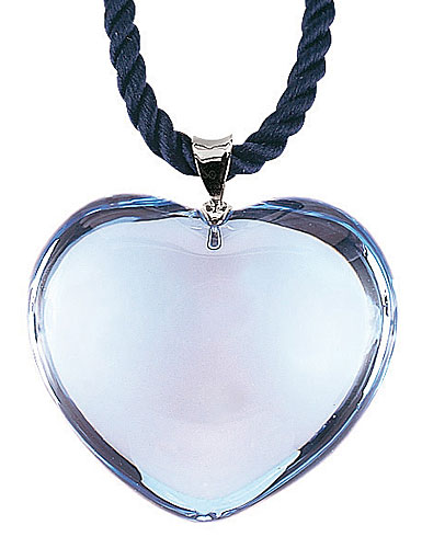 Baccarat Glamour Pendant, Sterling Silver Bale, Aqua Heart
