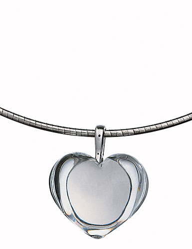 Baccarat Baby Coeur Necklace, Clear Heart, 3/4in