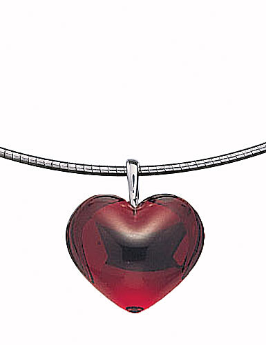 Baccarat Baby Coeur Necklace, Ruby Heart, 3/4in