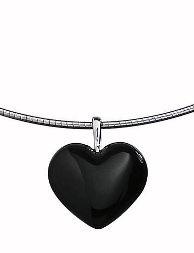 Baccarat Baby Coeur Necklace Sterling Silver Onyx