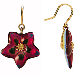 Baccarat Blossom Pierced Earrings, Ruby Iridescent