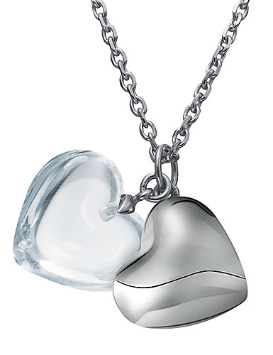 Baccarat B Mine Necklace Sterling Silver Baby Coeur Clear Heart