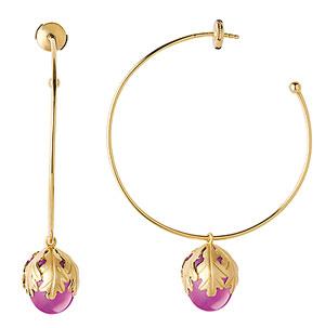 Baccarat Murmure Hoop Earrings, Peony Crystal