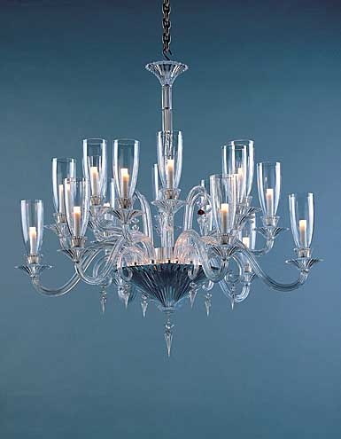 Baccarat Mille Nuits Clear 18 Light Chandelier, With Lighted Bowl For Hurricane