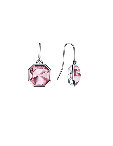Baccarat LIllustre Wire Pierced Earrings, Mirrored Light Pink Crystal