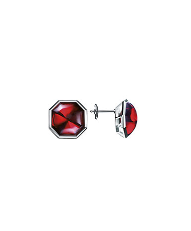 Baccarat Lillustre Stud Pierced Earrings, Mirrored Red Crystal