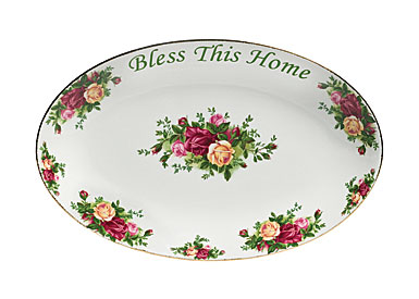 Royal Albert China Old Country Roses Bless This Home Platter