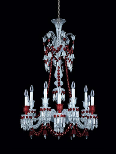 Baccarat Zenith Red and Clear 12 Light Chandelier, Long