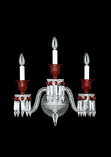 Baccarat Zenith 3 Light Wall Sconce, Clear and Red